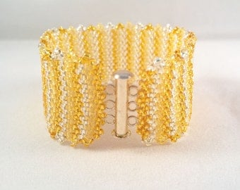 Gold and Silver Beaded Cuff Bracelet