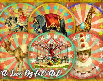 "Vintage Circus printable downloads digital collage sheet circle 2.5"", instant download, pocket mirror images, cupcake toppers, scrapbooking"