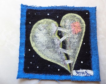 Broken Heart , Handpainted Denim,  Original Hand Painted Art , Sew on Patches, Miniature Painting,Original Painting,  Upcycled Denim