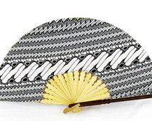 Batik Fabric Bamboo Folding Hand Fan Black White Balinese Style (Medium)