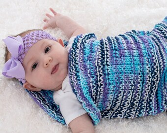 Hand Knit Baby Blanket, Baby Cocoon, Hand Knit, Purple, Blue, Turquoise, and White Textured Stripes, 100% Cotton - 131