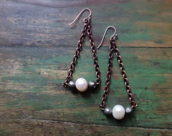 Boho/ Indie Copper Chain and White Freshwater Pearl Dangle Earrings