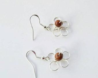 Flower earrings wire, floral stud earrings, silver wire earrings, wire wrapping earrings, silver flower drop, flower earrings