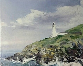 Trevose Head Lighthouse - Cornwall 12x9 inch - Oil on canvas