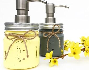 Set of 2 Farmhouse Soap Dispensers, Mason Jars, Home Decor, Gift, Housewarming Gift, Country, Home Decor, Kitchen, Bathroom, Rustic, Gift