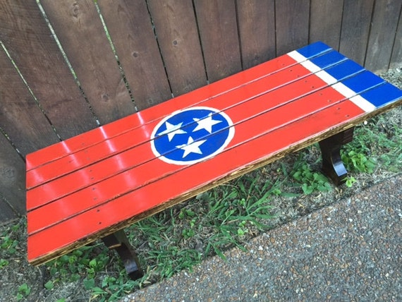 Tn State Flag Wood Bench For Kids Or Coffee Table On