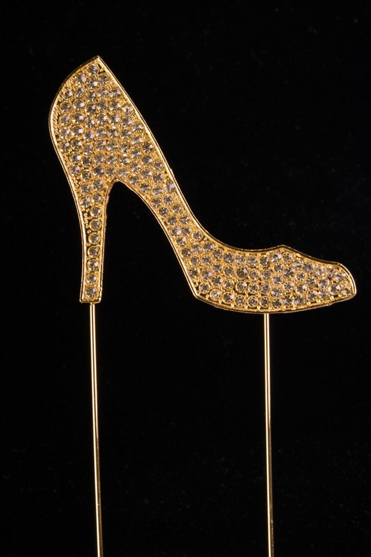 Gold High Heel Shoe Rhinestone Cake Topper