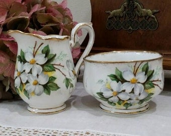 1940s  Vintage Royal Albert White Dogwood Fine Bone China Creamer and Open Sugar Bowl Set of Two