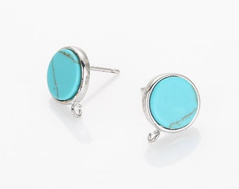 10mm Turquoise Flat Round Post Earring(Ring Crossed), Turquoise Flat Round Earring Polished Rhodium Plated - 2 Pieces [G0156E-PRTQ]