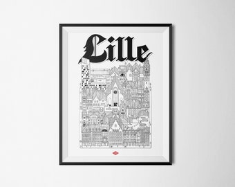 Lille - series illustration * Travel With Me *. Black and white. 32 x 45 cm