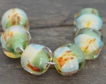 Handmade artisan lampwork boro borosilicate glass beads set of 6 yellow green brown
