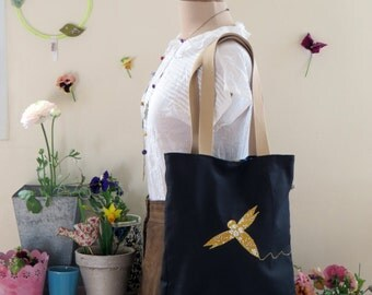 Tote bag black Dragonfly Liberty
