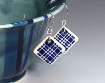 Blue Porcelain Earrings, Drop Earrings, Handmade Ceramic Earrings, Blue Plaid Earrings, Surgical Steel or Sterling Ear Wires, Pottery