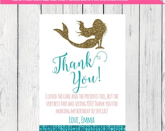 Mermaid Party Thank You Card Fully Personalized  ***Digital File*** (Mermaid-GltrscleThx)