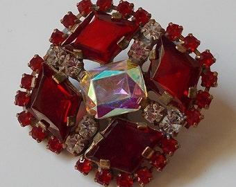 Beautiful Vintage Czech Handmade Rhinestone Button~Red~Aurora borealis~clear