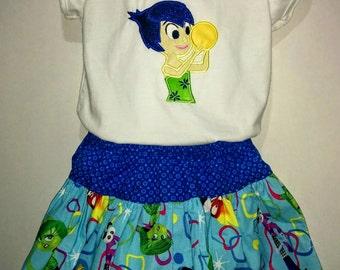 Inside Out Emotions Joy Joyful Blue Yellow Boutique Birthday Party Twirl Twirly Skirt Shirt Set Girl Outfit! Happy Emotion Girl Birthday