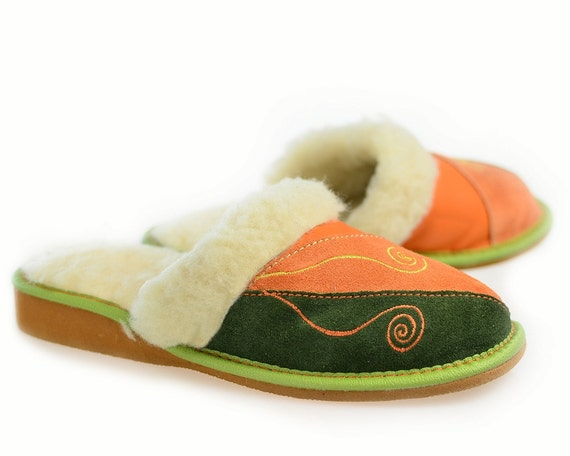 leather slippers women womens 100 wool slippers handmade 13874 | il 570xn 1004276624 3m4u