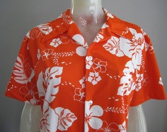 1970's Kiholo Fashions Hawaii Mens Luau Hawaiian Shirt - Mens M