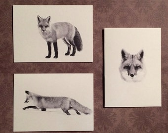 Set of 6 or 12 Handmade Blank Red Fox Print Note Cards