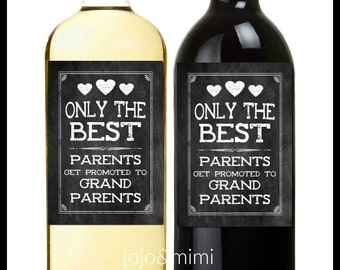 INSTANT Wine Label 'only the BEST parents get promoted to grandparents' Printable Wine Label Instant Wine Gift Pregnancy Announcement