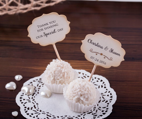 Wedding Cupcake Toppers Chocolate Favors Custom Cupcake Toppers. Wedding Favors. Mini Cupcake toppers - Set of 24