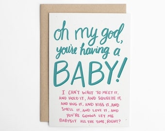 Funny New Baby Card, OMG You're Having a Baby!, Baby Congratulations, Congrats Card, Baby Announcement, OMG Baby/C-136