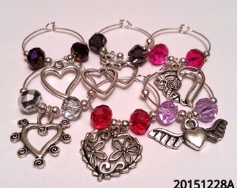 Hearts & Love Wine Glass Charms for wedding valentine's anniversary