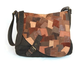 Large shoulder bag leather patchwork