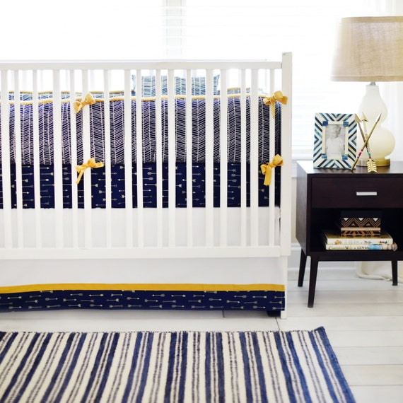 Gold & Navy Arrow Baby Bedding for boys Go Your by