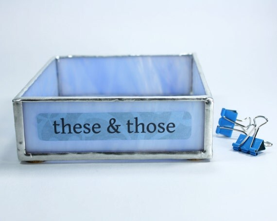 Blue stained glass desk organizer home office by - Glass desk organizer ...