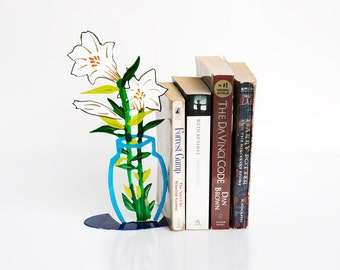 Bookend - Designed Bookend-laser cut bookend -  Bookends-flowers Bookend -Metal Flowers Art