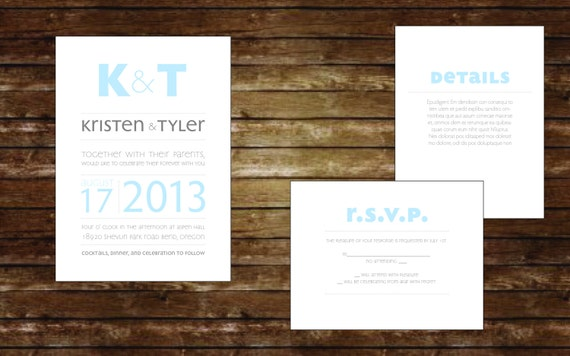Modern Block Printable Invitation Suite, Wedding Invitations, Digital Invitations, Custom Invitations