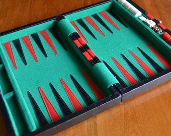 Vintage Travel-Sized Backgammon Board
