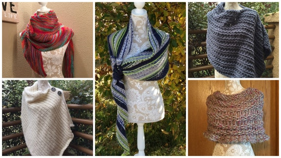 Ponchos & Shawls eBook - 5 unique loom knit patterns