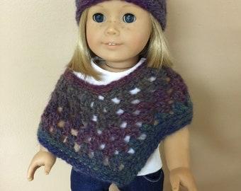 "American Girl/18"" Doll Poncho and Hat set. 100% handmade."