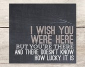 Miss You + Wish You Were Here chalkboard flat note card