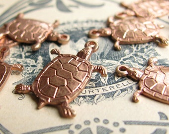 Tiny Turtle charms - 17mm - antiqued brass (6 charms) lead nickel free, pond life, sea creature, rose gold brass, antiqued rose ox