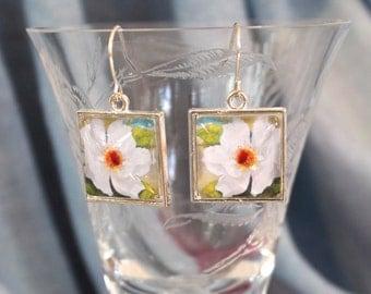 White Rose Flower Floral Earrings Silver Finish Pierced Ear Dangle Earrings
