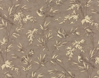 Larkspur Fabric by the yard, Larkspur Birdsong Cobblestone by 3 Sisters for Moda Fabrics, Floral Bird Fabric, 44103 13