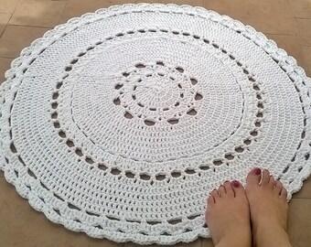 90 cm crochet handmade cotton rug