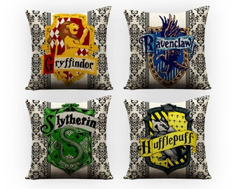 Harry Potter pillows, slytherin, ravenclaw, hufflepuff, harry potter, hogwarts, throw pillows, decorative pillows, birthday, christmas, nerd