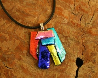 Dichroic Necklace - Fused Glass Pendent - Dichroic Fused Glass Necklace