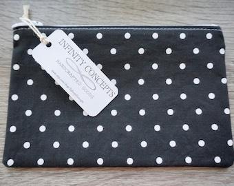 Zipper Pouch, Pencil Bag, Make Up Bag, Bridesmaids Gift - Black and White Polka Dot