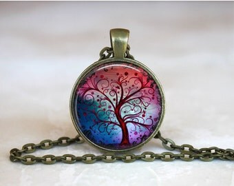 TREE OF LIFE Pendant •  Red and Blue Tree •  Spiritual Tree • Gift Under 20 • Made in Australia (P0407)