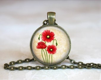 POPPY Pendant •  Remembrance Poppy •  Vintage Red Flower •  Floral Jewellery •  Gifts for Her •  Gift Under 20 • Made in Australia (P0286)