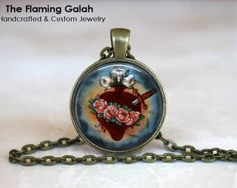 SACRED HEART Pendant • Sacre Coeur • Flaming Heart • Jesus Christ • Religious • Gift Under 20 • Made in Australia (P0639)