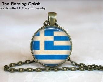 GREEK FLAG Pendant • Vintage Greek Flag • Old Greek Flag • Flag of Greece • White and Blue •  Gift Under 20 • Made in Australia (P0431)