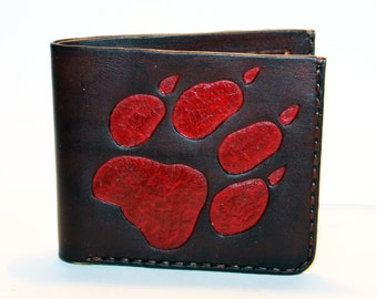 Leather wallet with wolf track, brown wallet, great leather item, brown men's wallet, credit card wallet, gift for men.