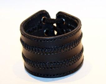 Black Leather Cuff Bracelet! Unique Leather Gift! Hight quality item! Black Bracelet! Leather Accessories!