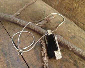 vintage silver tone crown trifari modernist black bakelite and clear rhinestone pendant necklace